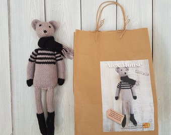 Alex Mouse Knitting Kit - Make Your Very Own Mouse - Easy To Knit Pattern