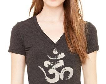 Brushed OM  Ladies Triblend Deep V neck yoga Activewear Style B843