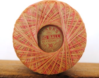 Vintage Clark's Big Ball Variegated Crochet Thread in Pink and Gold
