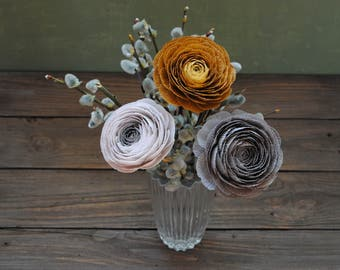 Set of 3 ranunculuses, gray paper flowers, bridal bouquet, bridesmaids bouquet, wedding bouquet, paper flower bouquet, wedding paper flowers