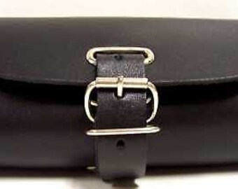 Handmade Leather Bicycle Bike Handlebar Seat Bag With Buckles Black NEW