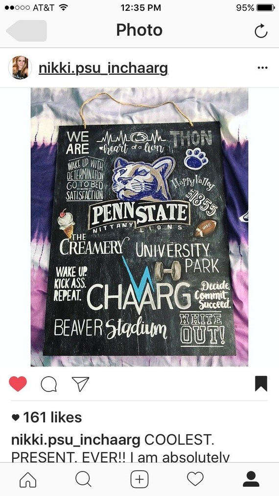 Penn state inspired custom 18x24 chalkboard art dorm for Penn state decorations home