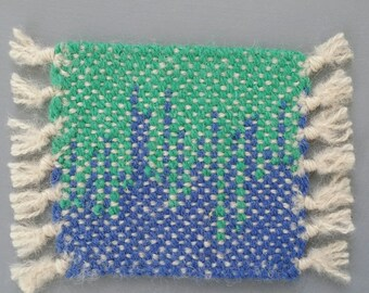Hand Woven Wool Coasters - Set of 2- blue and green