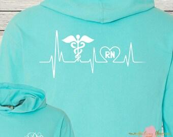 Monogrammed Nursing Nurse RN Shirt Hoodie Long Sleeved Comfort Colors Beautiful Colors