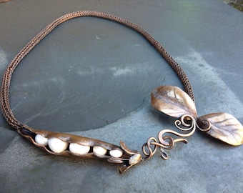 Peas in a Pod necklace, copper sheet and fresh water pearls