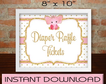 """Baby Shower Girl, Diaper Raffle Sign, DIY, Instant Download, Pink Gold Elephant, Printable, 8""""x10"""""""