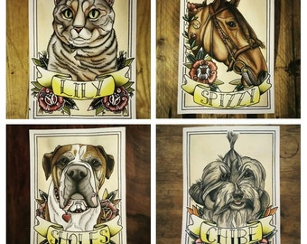 Custom Traditional Tattoo Style Pet Portraits