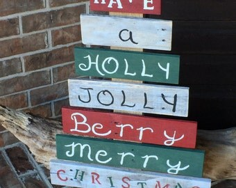 Pallet, Wood, Holly, Jolly, Christmas, Tree, Message, Red, Green, Decoration