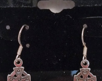 Sterling Silver Celtic Cross Dangle Earrings