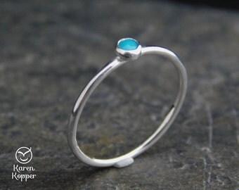 Choose a gemstone ring - SMOOTH Skinny sterling silver ring, 1.2 mm ring. Skinny ring, thin ring, stacking ring. Birthstone ring