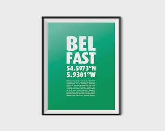 Belfast Coordinates - Minimalist, typography, creative,