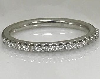 Ladies Very Delicate 19 Round Diamond Band 14k White Gold .30 ctw. #4355