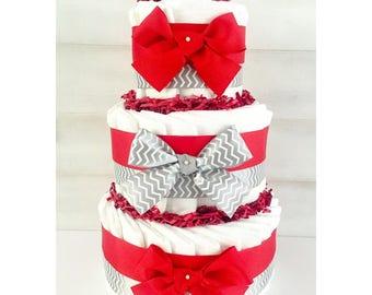 Diaper Cake - Diaper Cake For Boy - Diaper Cake For Girl -Chevron Diaper Cake - Chevron Baby Shower