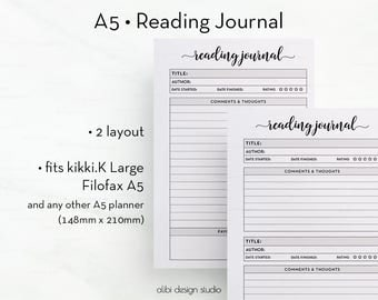 Reading Journal, A5 Planner Inserts, Books Printable, Book Organizer, Reading List, Book Review, Book Planner, A5 Planner, Printable Planner