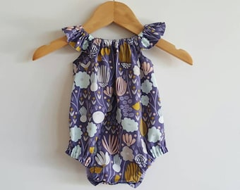 Baby girls playsuit // flutter sleeve // romper // organic // purple // baby gift // baby shower
