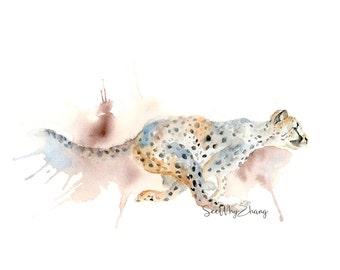 Running Cheetah Watercolor Art Print / Cheetah Giclee Print / Wild Animal Artwork / Safari Animal Art Print / Modern Wildlife Watercolor
