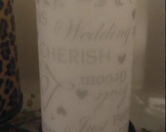 Love.Wedding.IDo.JustMarried Pillar Candle