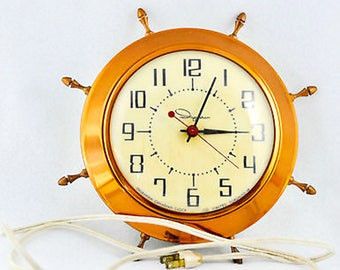 1960's Hard  Ingraham Nautical Electric Wall Clock with Copper and Brass Fittings
