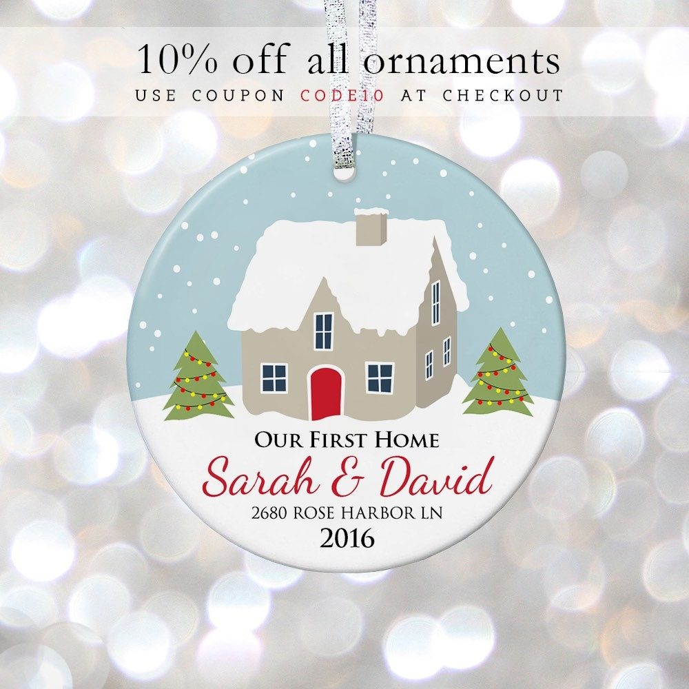 Our First Home Christmas Personalized Ornaments Housewarming