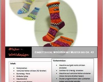 PDF Anleitung Strickanleitung Strickmaschine Einbett - Socken MS00804, knitting
