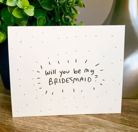 Set of 6 notecards, Will you be my bridesmaid card, Be my Bridesmaid card, Funny bridesmaid card , Hand lettered card, 6pack bridemaid cards