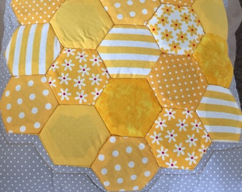 Handmade quilted front hexagon cushion yellow/grey
