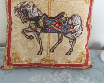 Homemade cushion  carousel horse  approx 16 inch x16inch