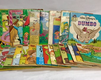 HUGE LOT of 57 Vintage Children's Story Books with 45RPM Records