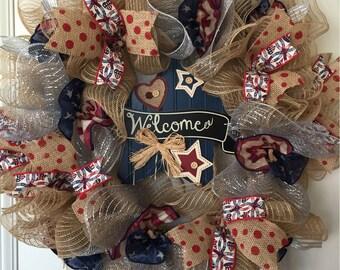 Patriotic Welcome Americana Wreath