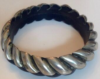 African carved horn silver bangle bracelet