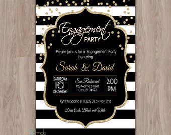 Engagement invitation, Engagement Party invitation, Engagement invites, Couples Engagement Invitation, printable, elegant, black and gold