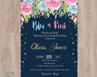 Gender reveal invite Etsy