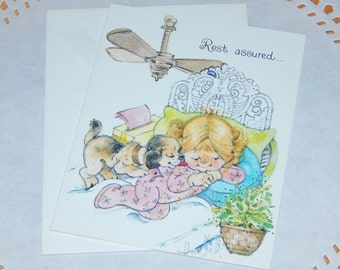 Rest Assured Vintage Get Well Greeting Card with Envelope - Little Girl and Puppy