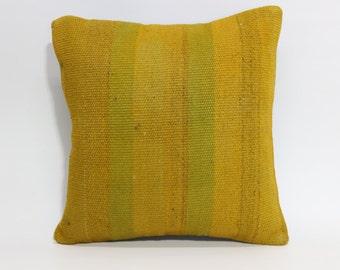 Yellow Overdyed Kilim Pillow 16x16 Decorative Kilim Pillow Throw Pillow Decorative Striped Kilim Pillow Bed Pillow SP4040 1601