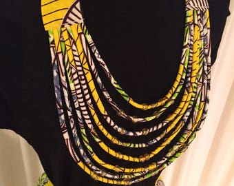 WaxPrint and Rope statement necklace with goldcoloured beads