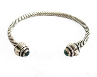 Vintage Taxco Sterling Silver Twisted Cable with Malachite Cuff Bracelet