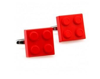 Lego Cufflinks - Red-B31  - Free Gift Box