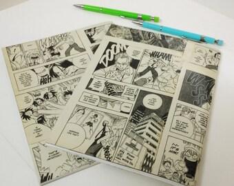 Manga Notebooks (2), Anime Journal, Graphic Novel Diary, Teen Diary, Writers book, School Journal, Cartoon Comic Notebook Altered Books