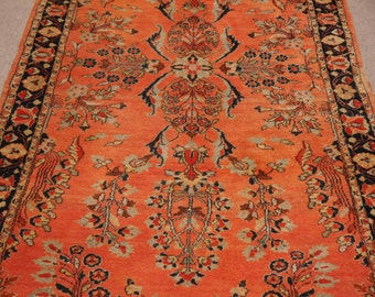 Sarouk antique persian rug 7.0 x 4.0 ft / 211 x 120 cm Bohemian Rug, Boho Style, carpet mohajeran 7 x 4 ft