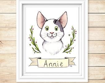 Personalized Cat Print Illustration Watercolor Cat portrait Gift Custom Cat Painting 5x7 Custom Print