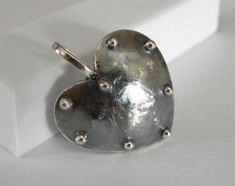 Heart pendant, sterling silver pendant, handmade pendant, reversible pendant, Valentine's Day, Mother's day.