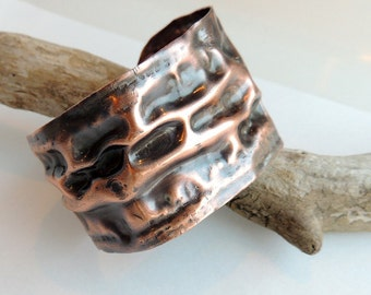Copper Air Chased Cuff Bracelet