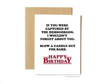 Stranger Things Card, Funny Birthday Card, Friend Card, Friend Birthday