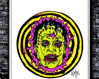 PSYCHOdelic Leatherface - A4 Signed Art Print (Inspired by The Texas Chainsaw Massacre)