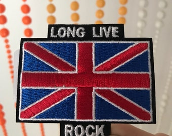 Vintage Style Long Live Rock Union Jack Patch