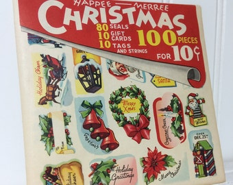 Large Lot 100 pieces! Vintage Christmas Stickers and Tags 1944