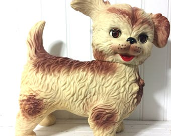 Vintage Edward Mobley Dog Squeak Toy, Sleepy Eyes