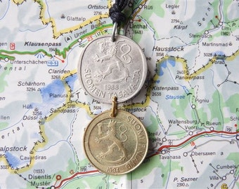 Finland double coin necklace - made of an original coin from Finland