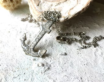 Glittering Sea. Silver glittering anchor necklace. Maritime pendant. Sailors Nautical jewellery. Nautical pirates. Raw brass. Cold enamel.