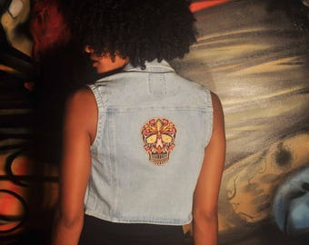 K Loco altered Day of the dead Mexican skull patched vintage denim vest